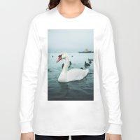 swan Long Sleeve T-shirts featuring Swan by Sputnik Mir