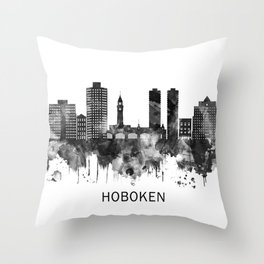 Hoboken New Jersey Skyline BW Throw Pillow