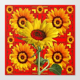 WESTERN STYLE RED COLOR YELLOW-GOLD SUNFLOWERS Canvas Print