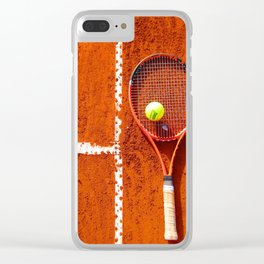 Tennis Court Background Clear iPhone Case
