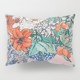 California Summer Bouquet - Oranges and Lily Blossoms in Blue and White Urn Pillow Sham