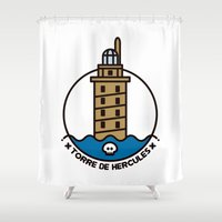 hercules Shower Curtains featuring Torre de Hercules by DamianVF