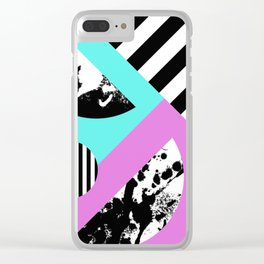 Stripes And Splats 2 - Random, Crazy, Abstract, Geometric, Black And White, Cyan, Pink Artwork Clear iPhone Case