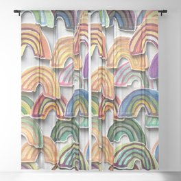 Watercolor Rainbow Stickers Sheer Curtain