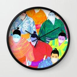 SUMO WRESTLERS IN MASKS Wall Clock