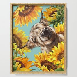 Highland Cow with Sunflowers in Blue Serving Tray