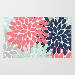 Flower Burst Petals Floral Pattern Navy Coral Mint Gray Rug