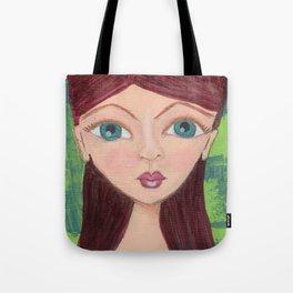 teal eyed girl Tote Bag