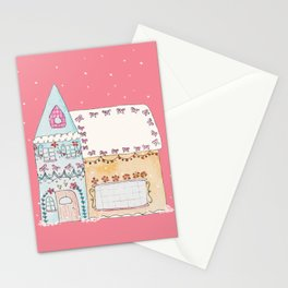 Gingerbread House Blue Stationery Cards