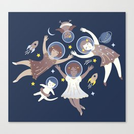 Girls in space Canvas Print