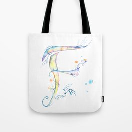 Letter F watercolor - Watercolor Monogram - Watercolor typography - Floral lettering Tote Bag