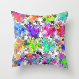 colorful psychedelic splash painting abstract texture in pink blue purple green yellow red orange Throw Pillow