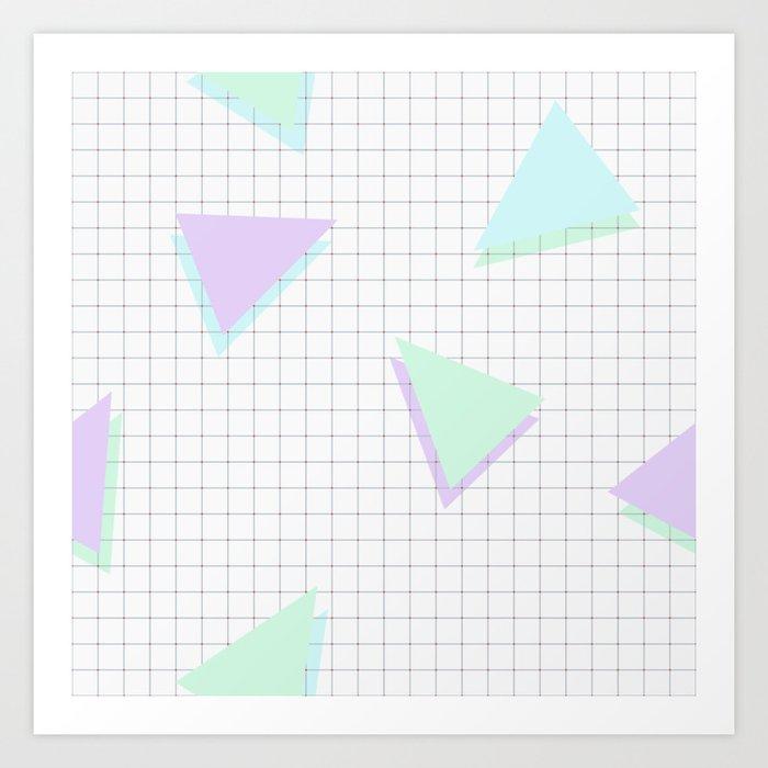 Cool-Color Pastel Triangles on Grid Kunstdrucke