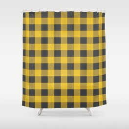 Yellow Flannel Checkers Shower Curtain