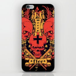 Red tattoo flash skull body iPhone Skin