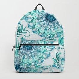 Mint and Teal Boho Nature Mandala Backpack