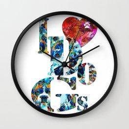 I Love Dogs by Sharon Cummings  Wall Clock