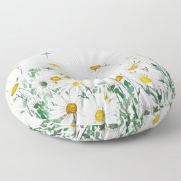 white margaret daisy horizontal watercolor painting Floor Pillow