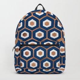 Hexagon Honeycomb Pattern – Denim & Rose Gold Palette Backpack