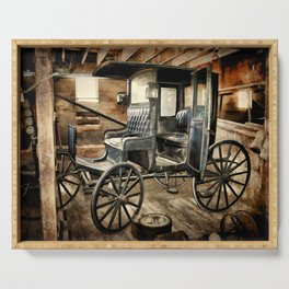 Vintage Horse Drawn Carriage Serving Tray