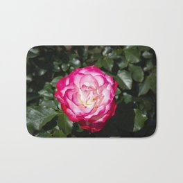 Red and White rose Bath Mat