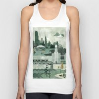 travel poster Tank Tops featuring Chicago Travel Poster Illustration by ClaireIllustrations