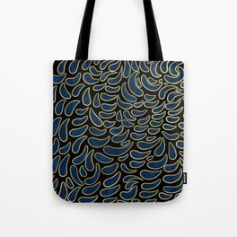 Watercolor drops pattern background with gold glitter elements.   Tote Bag