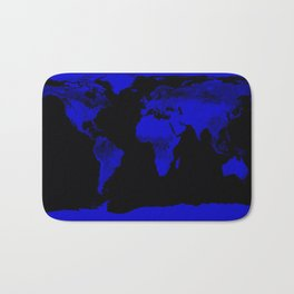 worlD Map Blue & Black Bath Mat