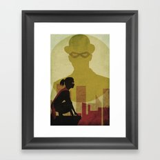 Who is the man in the bowler? Superheroes SF Framed Art Print