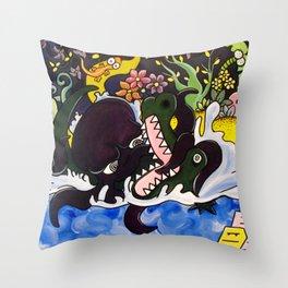 Greedy Octopus vs The Crocodile Throw Pillow