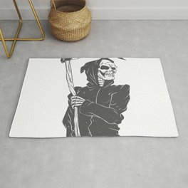 Grim reaper black and white Rug