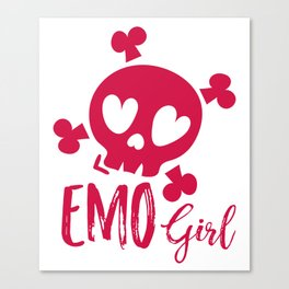 Emo Girl Pink Skull Emotional Canvas Print