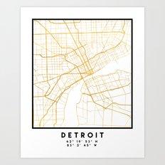 DETROIT MICHIGAN CITY STREET MAP ART Art Print