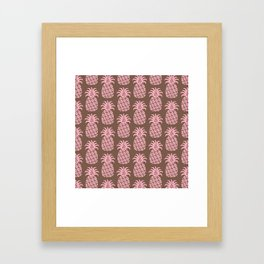 Mid Century Modern Pineapple Pattern Pink and Brown Framed Art Print