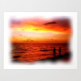 Sunset at Marco Island  Art Print