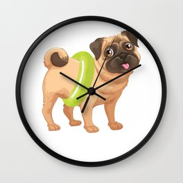 Cute Dog Wearing A Pool Float Funny Dog Rescuer Wall Clock