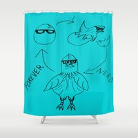 nerd Shower Curtains featuring FOREVER NERD by FOREVER NERD