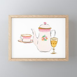 Watercolor Illustration of French porcelain teapot, teacup and a glass of wine Framed Mini Art Print