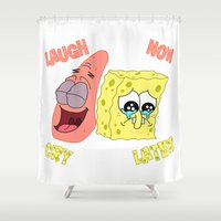 spongebob Shower Curtains featuring Spongebob Laugh Now Cry Later  by Chaosunit0010