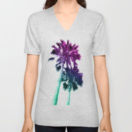 Retro Vintage Ombre Pop Art Los Angeles, Southern California Palm Tree Colored Print Unisex V-Neck