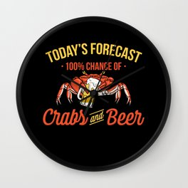 Crabs And Beer Forecast Alcohol Seafood Drinking Wall Clock