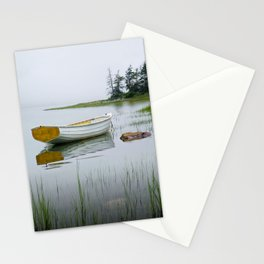 White Maine Boat on a Foggy Morning Stationery Cards