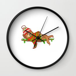 All I Want For Christmas Is An Uninterrupted Nap Merry Christmas T-Shirt Design Lazy Slow Tree Hung Wall Clock