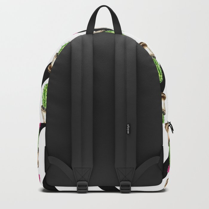 Blooming cacti on striped background Backpack