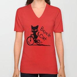 Bicycle Cat Unisex V-Neck