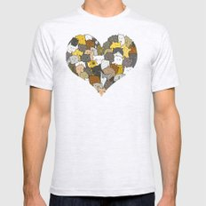 I Love Cats Mens Fitted Tee MEDIUM Ash Grey