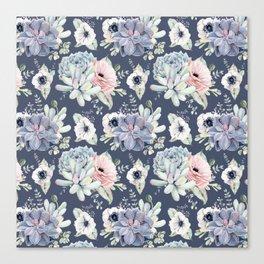 Beautiful Succulent Garden Navy Blue + Pink Canvas Print