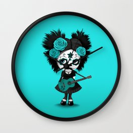 Teal Blue Big Eyes Sugar Skull Girl Playing the Guitar Wall Clock