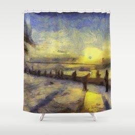 Bosphorus Sunset Van Gogh Shower Curtain