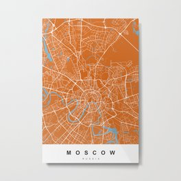 Moscow, Russia Map | Coffe & Blue | More Colors, Review My Collections Metal Print